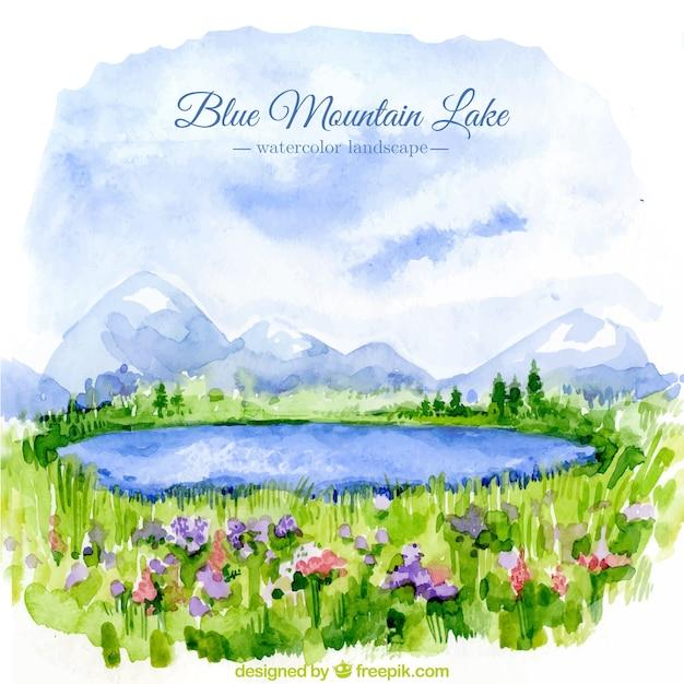 Achtergrond van de prachtige aquarel landschap met meren Gratis Vector