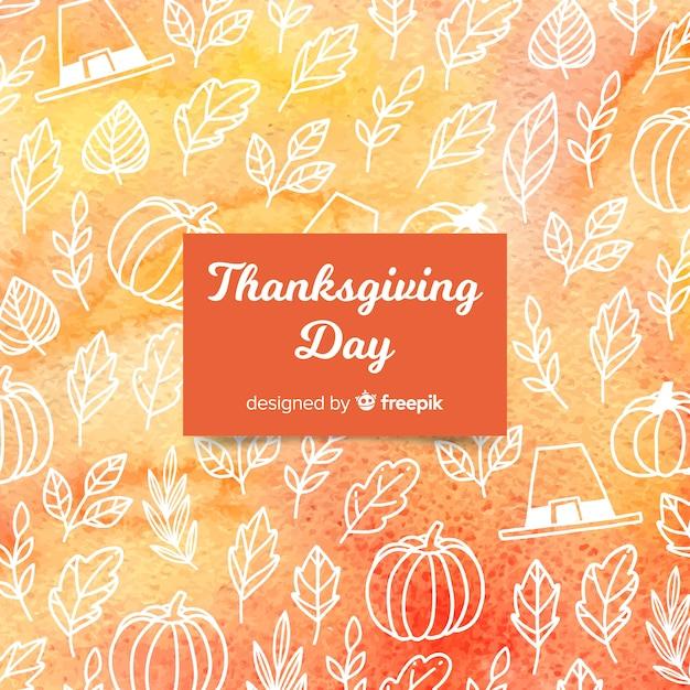 Achtergrond van de waterverf de gelukkige thanksgiving day Gratis Vector