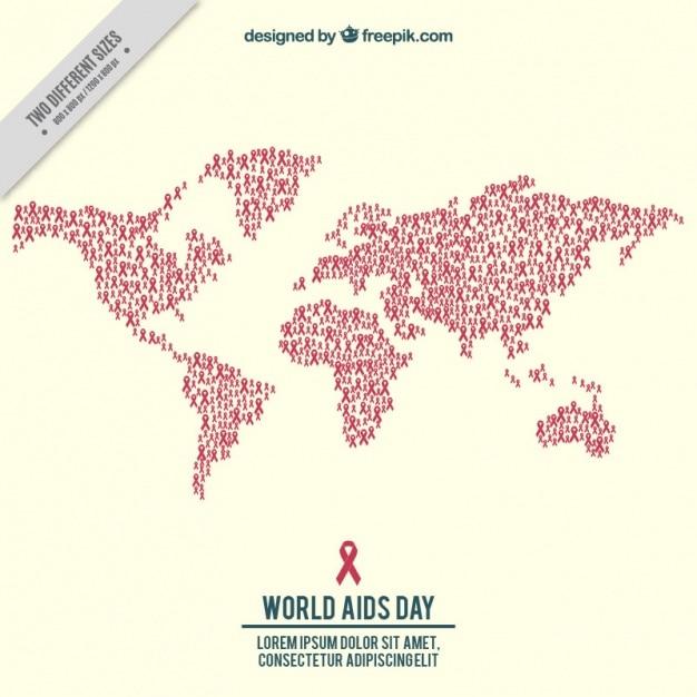 Achtergrond van de wereld kaart gemaakt met rode linten voor aids dag Gratis Vector