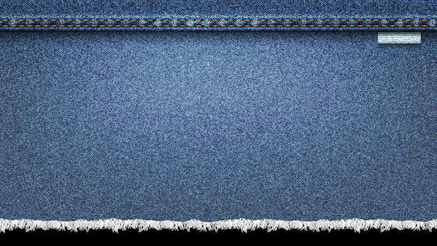 Achtergrond van denim, jeans realistische textuur Premium Vector