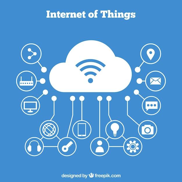 Achtergrond van dingen die verband houden met de cloud Gratis Vector