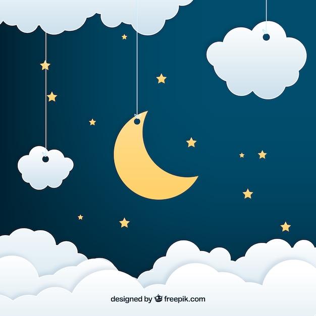 Achtergrond van een nachtelijke hemel in papieren stijl Premium Vector