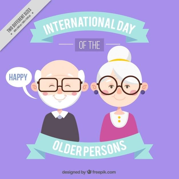 Achtergrond van gelukkige grootouders met een bril Gratis Vector