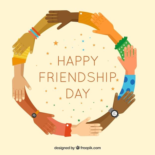 Achtergrond van handen in plat ontwerp van gelukkige vriendschap Gratis Vector
