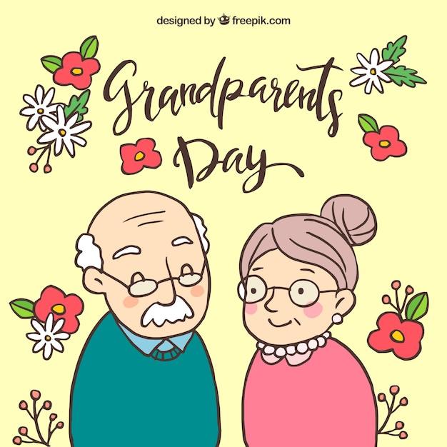 Achtergrond van handgetekende grootouders en bloemen Gratis Vector