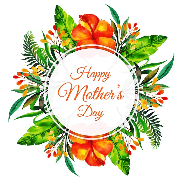 Achtergrond van het bloemenframe van de waterverf de gelukkige moederdag Gratis Vector