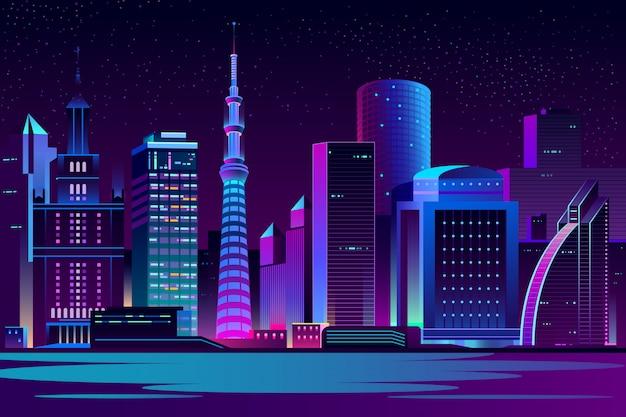 Achtergrond van het de stads de futuristische landschap van de nacht Gratis Vector