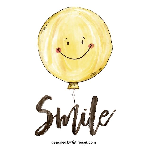 Achtergrond van het glimlachen ballon in aquarel stijl Premium Vector