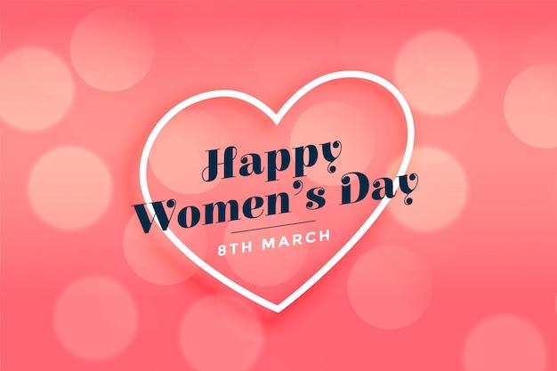 Achtergrond van het hart roze bokeh van gelukkige vrouwen de dag Gratis Vector