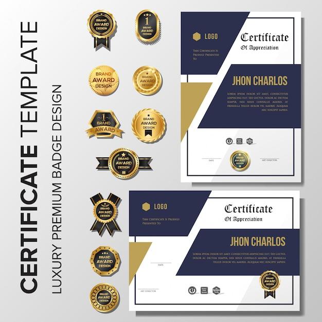 Achtergrond van het luxe de gouden certificaat met kenteken Premium Vector