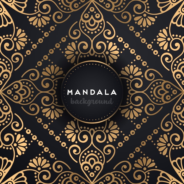 Achtergrond van het luxe mandalaontwerp Gratis Vector