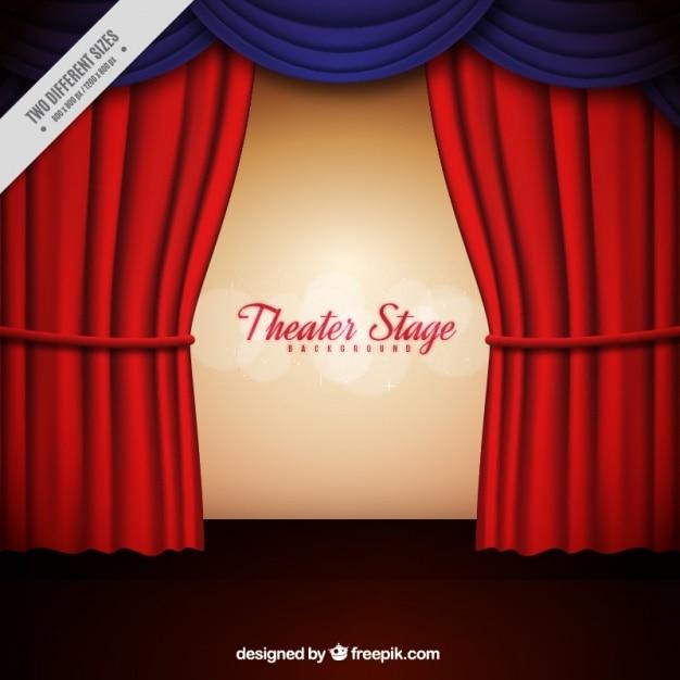 Achtergrond van het theater podium met rode en blauwe gordijnen ...