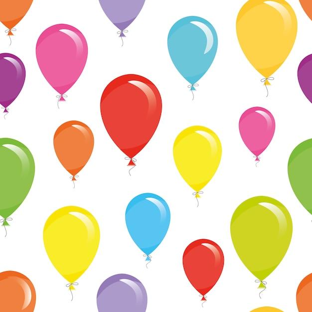 Achtergrond van het vakantie de naadloze patroon met kleurrijke ballons. Premium Vector