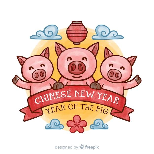 Achtergrond van het waterverf de chinese nieuwe jaar Gratis Vector