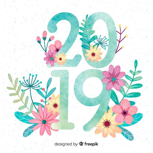 Achtergrond van het waterverf de nieuwe jaar 2019 Gratis Vector