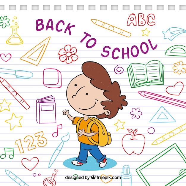 Achtergrond van jongen met tekeningen van school Gratis Vector
