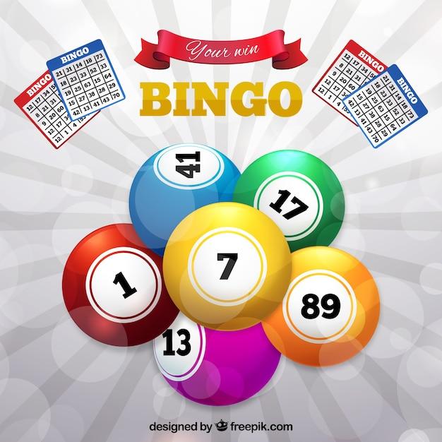 Achtergrond van kleurrijke bingo ballen Gratis Vector