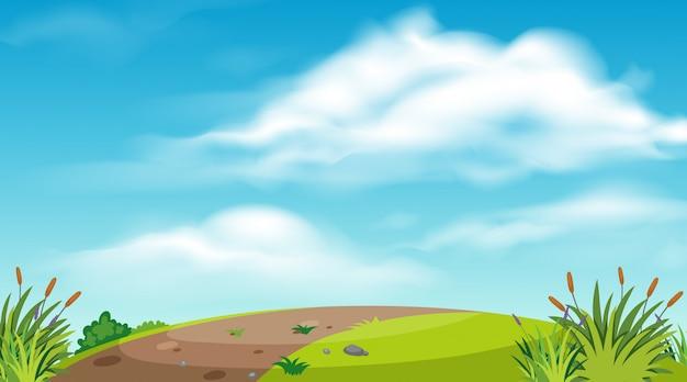 Achtergrond van landschap met weg op de heuvel Premium Vector