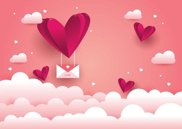 Achtergrond van liefde en valentijnskaartdag Premium Vector