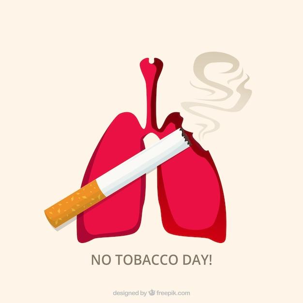 Achtergrond van longen met sigaret Gratis Vector