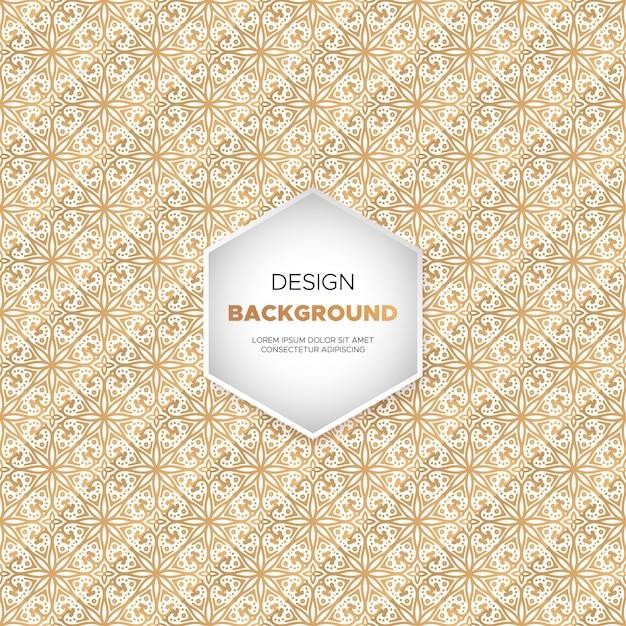 Achtergrond van luxe luxe mandala in gouden kleur Gratis Vector