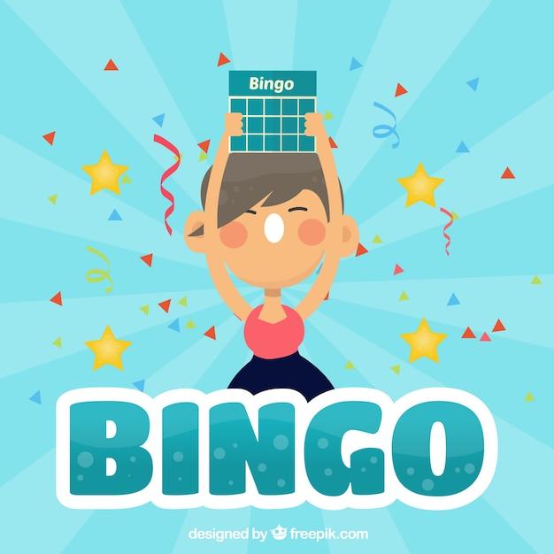 Achtergrond van meisje schreeuwende bingo Gratis Vector