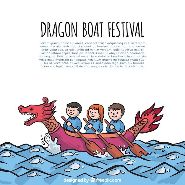 Achtergrond van mensen vieren drakenboot festival Gratis Vector