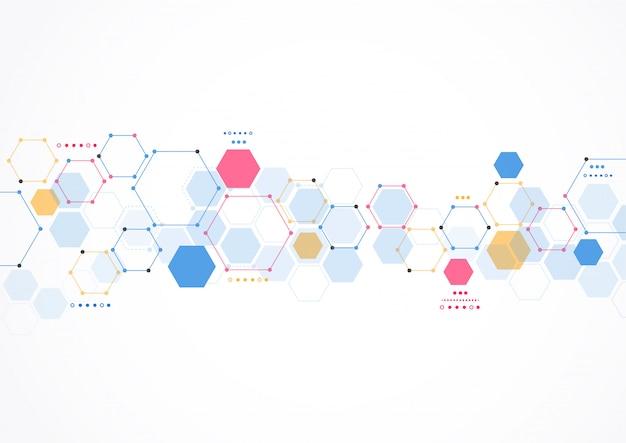 Achtergrond van moleculaire structuur abstracte technologie. medisch ontwerp Premium Vector