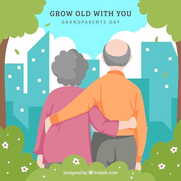 Achtergrond van paar grootouders overweegt de stad Premium Vector