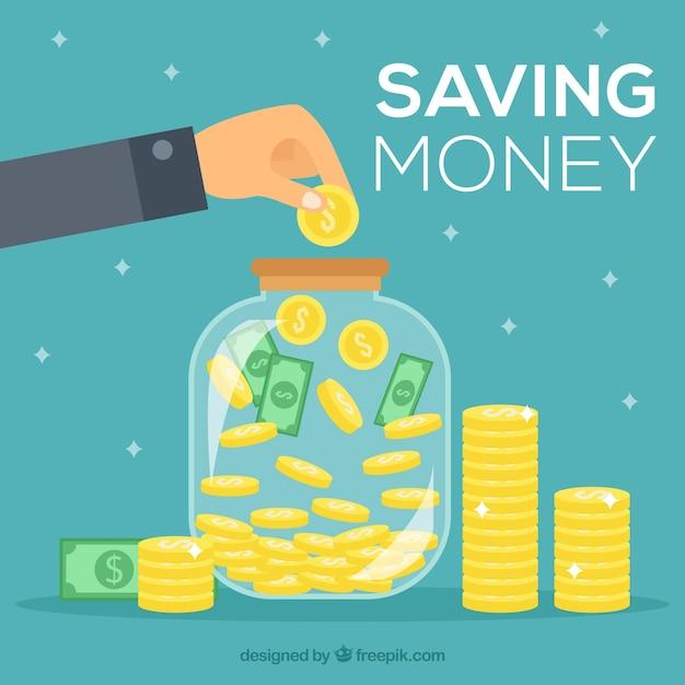 Achtergrond van persoon die geld besparen Premium Vector