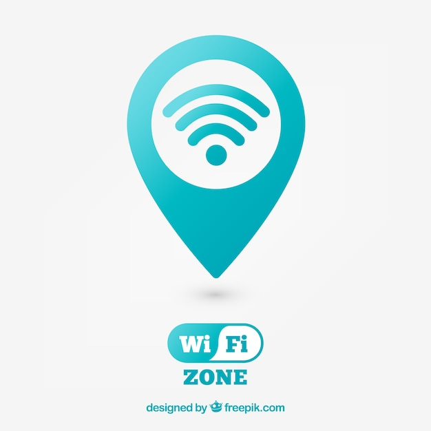 Achtergrond van pin kaart met wifi Gratis Vector