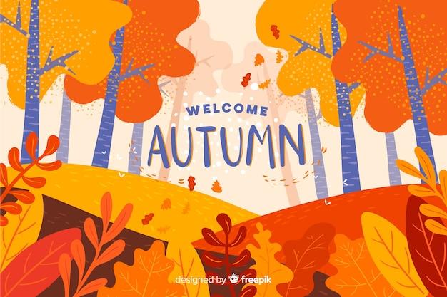 Achtergrond van platte herfst landschap Gratis Vector