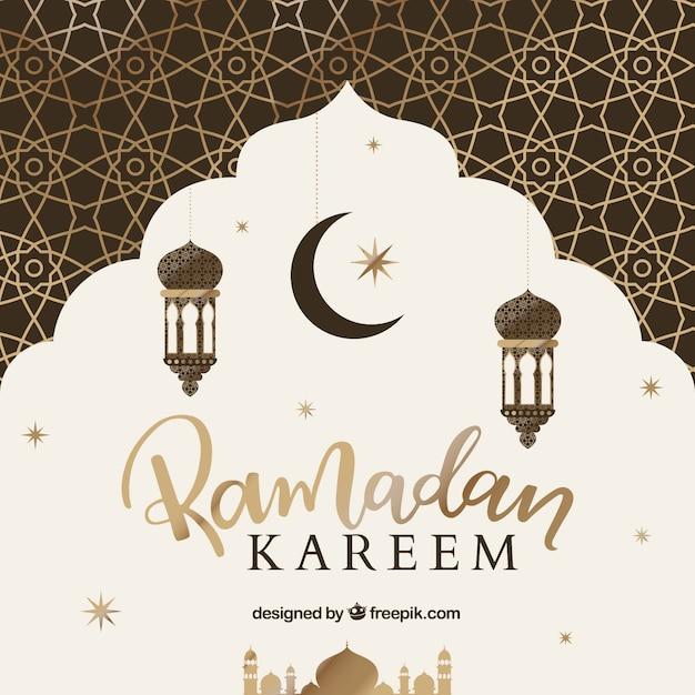Achtergrond van ramadán met gouden patroon Gratis Vector