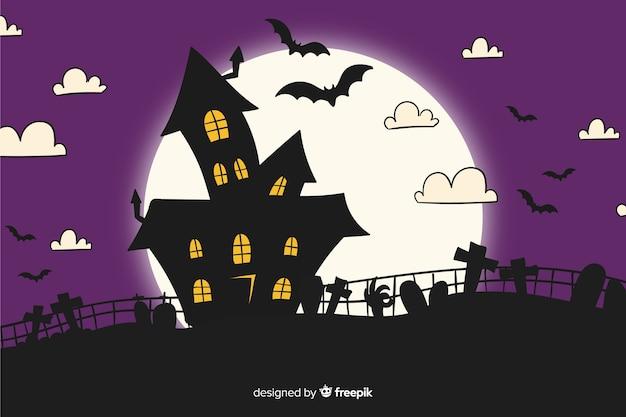 Achtergrond van spookhuishand getrokken halloween Gratis Vector