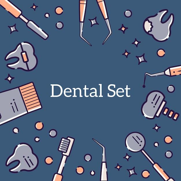 Achtergrond van tandarts en tanden Premium Vector