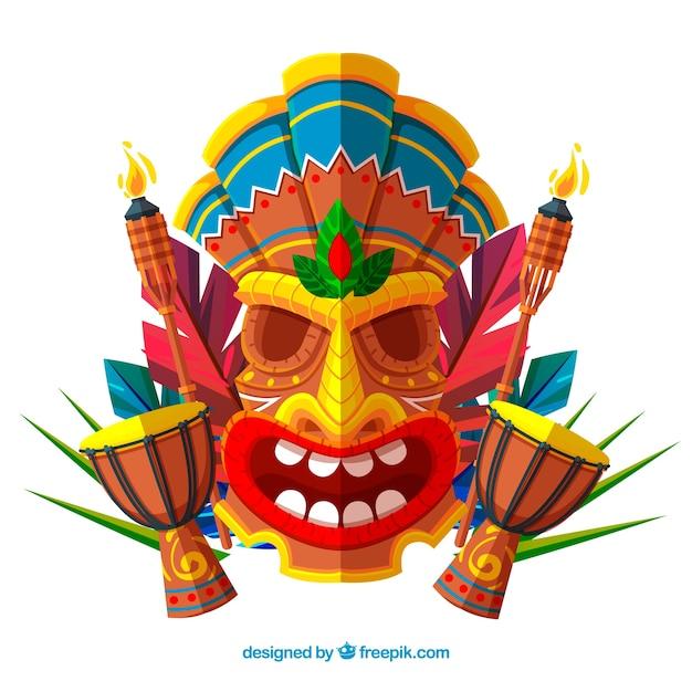 Achtergrond van tiki masker in plat ontwerp met timpani for Tiki hawaiano
