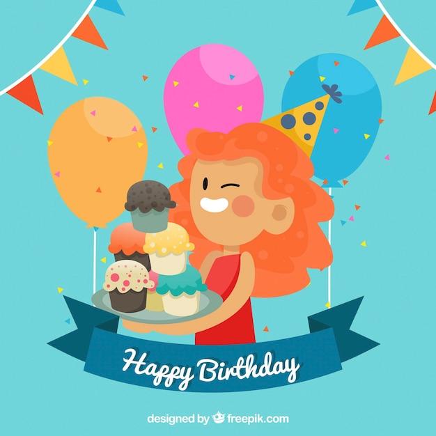 Super Achtergrond van vrouw met cupcakes en verjaardag ballonnen Vector @IB72