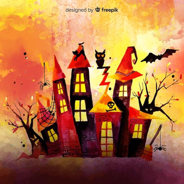 Achtergrond van waterverf de kleurrijke halloween Gratis Vector