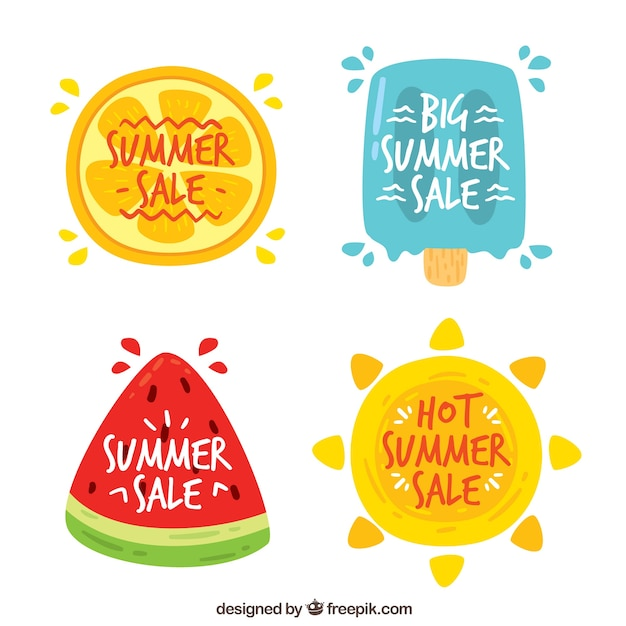 Citaten Zomer Gratis : Achtergrond van zomer stickers met watermeloen en ijs