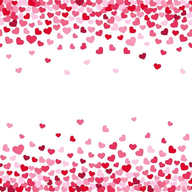 Achtergrond versieren van confetti vallen valentijns harten Premium Vector