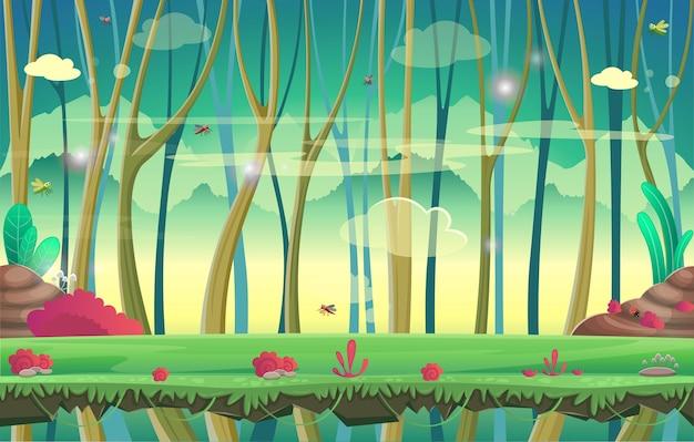 Achtergrond voor games en mobiele applicaties. woud. Premium Vector