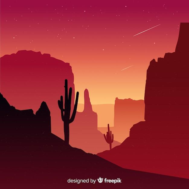 Achtergrond woestijnlandschap Gratis Vector