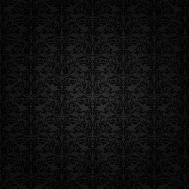 Achtergrond zwart damast Gratis Vector