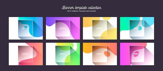 Achtergrondcollectie met levendige kleuren en vormen Gratis Vector