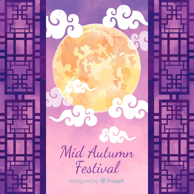 Achtergrondconcept voor het medio herfstfestival Gratis Vector