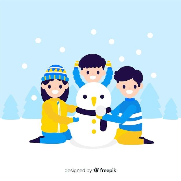 Achtergrondfamilie die een sneeuwman bouwt Gratis Vector