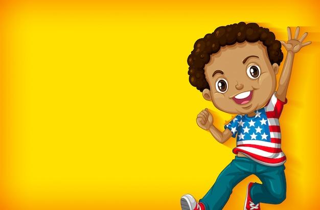 Achtergrondmalplaatje met duidelijke kleurenmuur en gelukkige jongen Gratis Vector