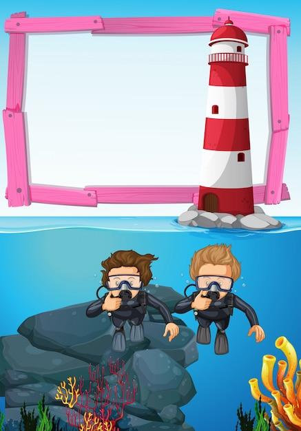 Achtergrondmalplaatje met onderwaterduikers Gratis Vector