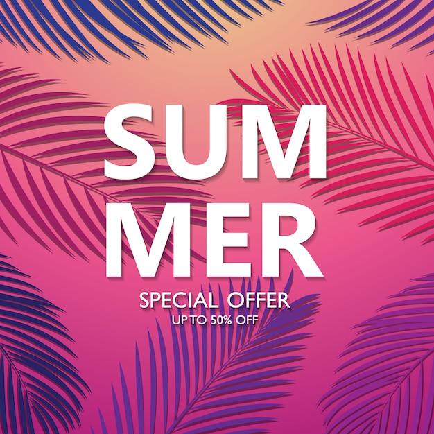 Achtergrondontwerp, de verkoop van felle kleuren, zomervakantie met palmbomen Premium Vector