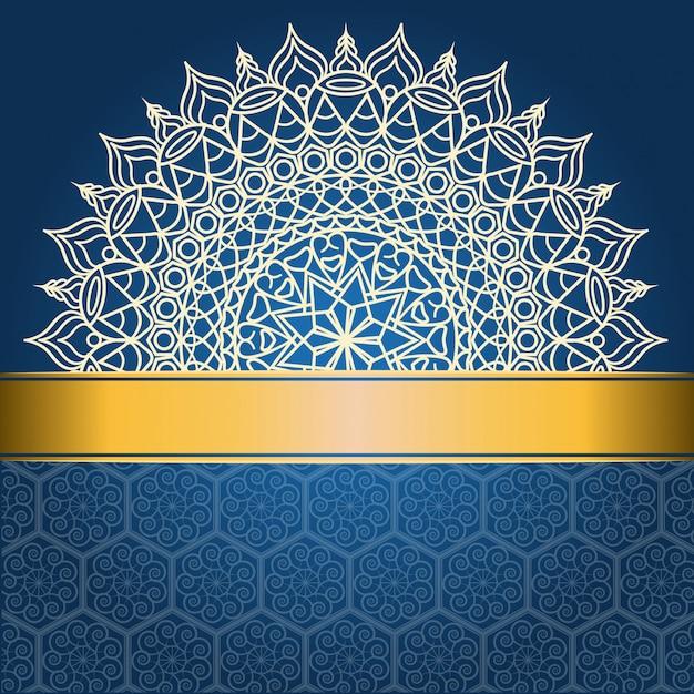 Achtergrondontwerp met mandala op blauwe en gouden lijn Premium Vector